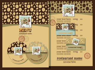 Coffee menu design set.Coffee house design set contains templates  for  business card, coaster, menu with price and text with postage stamps.  Postage stamps with coffee mill. Coffee house style