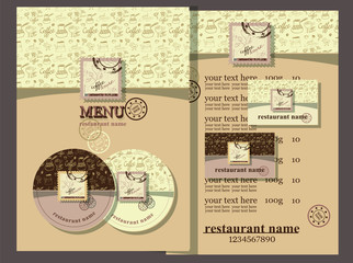Coffe house style.Coffee house design set contains templates  for  business card, coaster, menu with price and text with postage stamps. Coffee house style