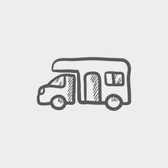 Camper van sketch icon