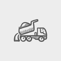 Dump truck sketch icon