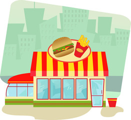 Fast Food Restaurant - Cartoon illustration of a fast food restaurant and cityscape in the background. Eps10