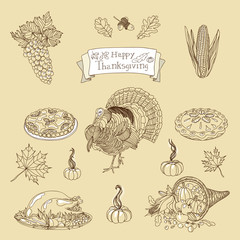 Vintage vector illustration set of Thanksgiving icons.