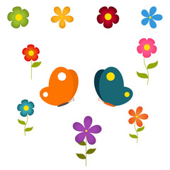 vector set of flowers and butterflies
