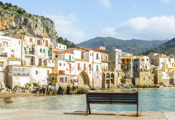 Printed kitchen splashbacks City on the water View of beach town Cefalu in Sicily, Italy
