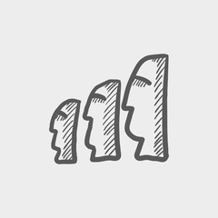 Easter isalnd statues sketch icon