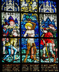 Fotobehang Stained Martyrdom of Saint Sebastian - Stained Glass in Obernai
