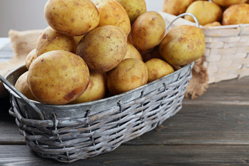Young potatoes in wicker baskets on wooden table close up