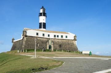 Portrait of the Farol da Barra Salvador Brazil lighthouse under clear blue sky