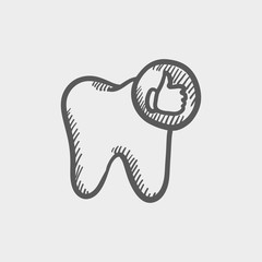 Healthy tooth sketch icon