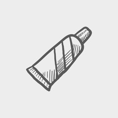 Tube of toothpaste sketch icon