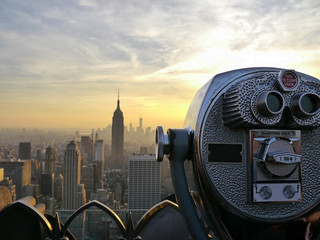 Tower viewer telescope binoculars over looking the New York City skyline