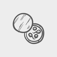 Petri dish with bacteria sketch icon
