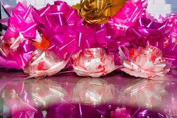 pink roses set made of silk ribbon