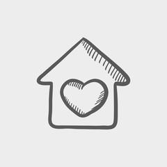 Contoured house sketch icon