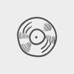 Vinyl disc sketch icon