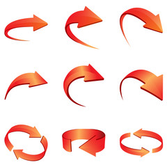 3D Arrow Set Icon Red Color