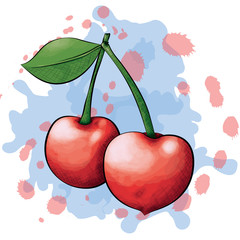 A vector illustration of two cherries in an ink and watercolor style on a splattered background.