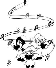 Singing Christmas carol in three people.