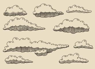 Retro clouds vector illustration hand drawn sketch