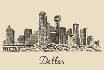 Dallas skyline vector illustration hand drawn