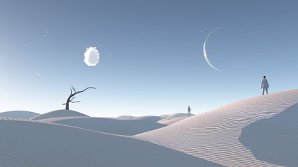 Obraz Man in desert with bare tree and moon Surreal Haunting - fototapety do salonu