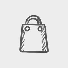 Shopping bag sketch icon