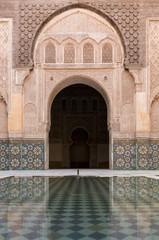 Reflections in the courtyard pool, Medersa Ali Ben Youssef (Madrasa Bin Yousuf), Medina, UNESCO World Heritage Site, Marrakech, Morocco, North Africa, Africa