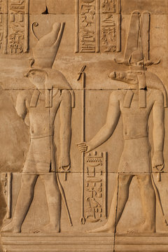 Relief carving in the ancient Egyptian Temple of Kom Ombo near Aswan, Egypt