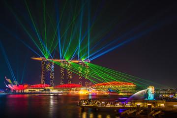 Laser show on marinabay sands , Singapore