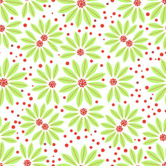 Seamless flowers green and red berries on white background. Vector illustration