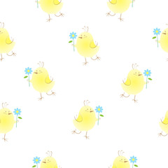 Seamless pattern with cute cartoon chickens and flowers on a white background.