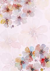 Handpainted watercolor flowers card