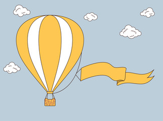 Hot air balloon with banner for your text