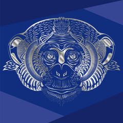 Head of monkey.Silver silhouette on a blue background.