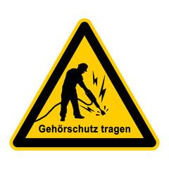 wso166 WarnSchildOrange - Gehörschutz tragen - Bauarbeiter mit Presslufthammer - g3767