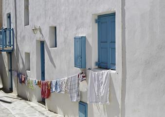 Hanging out the washing in Mykonos Town (Chora), Mykonos, Cyclades, Greek Islands, Greece, Europe