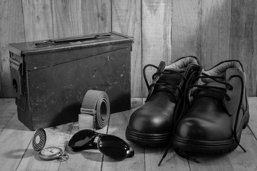 Still life photography concept with safety shoe,UV glass,bell and case box