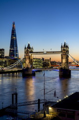 View of the Shard and Tower Bridge above the River Thames at dusk, London, England, United Kingdom, Europe