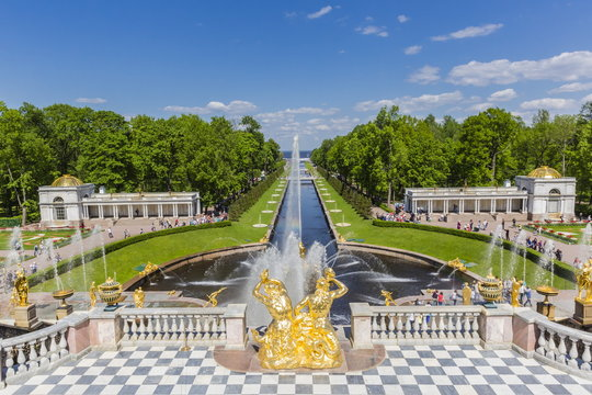 The Grand Cascade of Peterhof, Peter the Great's Palace, St. Petersburg, Russia