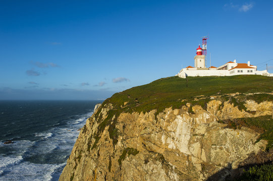 Lighthouse on the rocky cliffs of Europe?s most western point, Cabo da Roca, Portugal