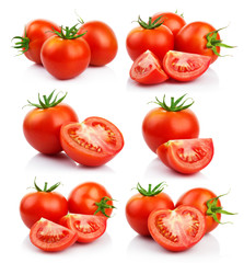 Set of red tomatoes vegetables with isolated on white
