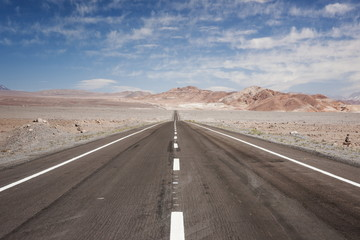 Empty open road, San Pedro de Atacama Desert, Chile, South America