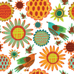 Seamless pattern with sunflowers and birds
