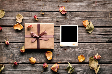 Blank photo frame with gift box