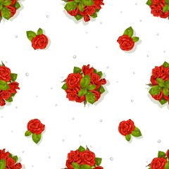 Big seamless pattern of a romantic bouquet of red roses and diam