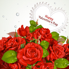Bouquet of red roses with a happy Valentine`s day card