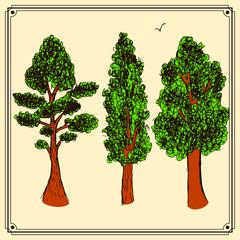 Sketch trees set in vintage style