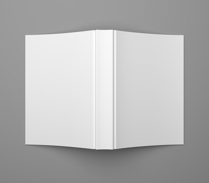 White blank soft cover book template on grey