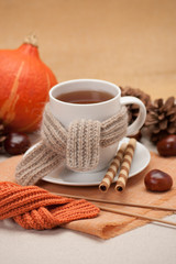 Autumn Concept. Cup Of Hot Tea With Sweets. Yarn Knitting. Pumpk