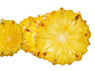 pineapple with slices isolated on white background